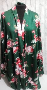 Echowish womans green floral long sleeve c…